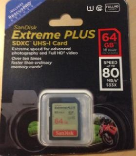 SanDisk Extreme PLUS 64GB SDXC UHS-I Card