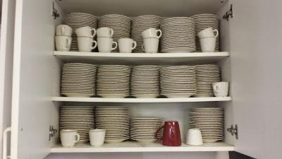 Coffee cups, saucers and plates