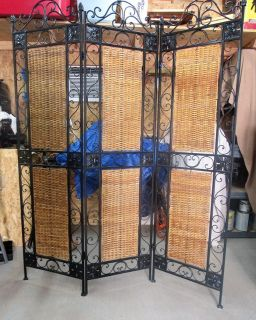 wrought iron and wicker divider screen