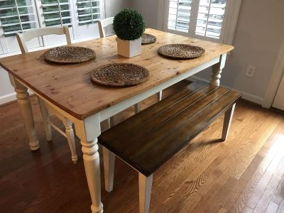 Kitchen table with bench and two chairs