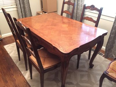 French Provincial table and 10 chairs