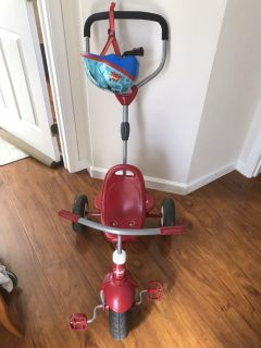 Used Radio Flyer 4-in-1 Stroll 'N Trike Removeable Canopy Cup Holder 3 Point Harness & helmet