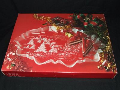 Mikasa Christmas Story Oval Canape Crystal Large Serving Tray NEW