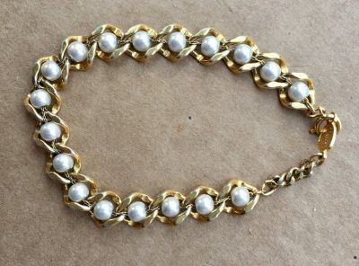 Gold Colored Pearl Chain Bracelet