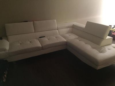 $500, White Bonded Leather Sectional
