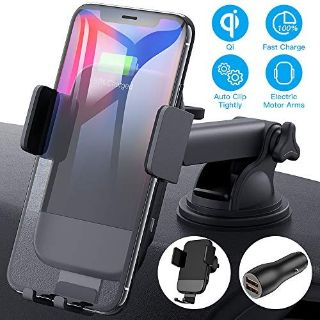 Wireless Car Charger Mount, CTYBB Qi Automatic Clamping Air Vent Dashboard Car Phone Holder & QC...