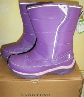 New Lands End Snow Flurry Winter Snow Boots Girls Size 5 Youth Purple