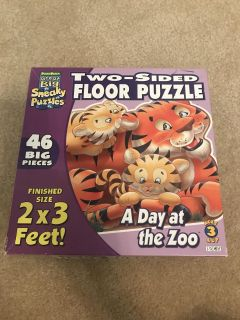 Two-Sided Floor Puzzle - A Day at the Zoo