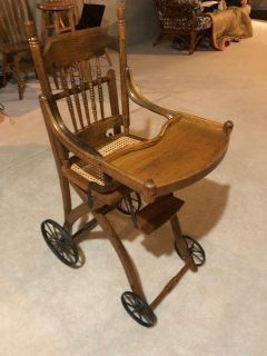 Oak antique high chair