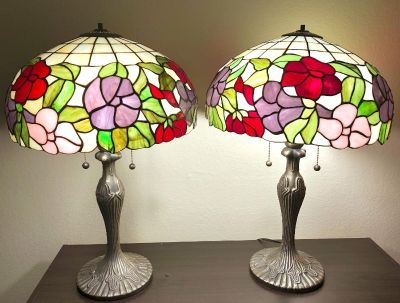 Antique Tiffany-Style Stained Glass Lamps