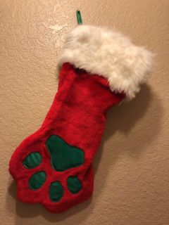 Plush Puppies CHRISTMAS PAW STOCKING Red, White, Green Holiday Pet Stocking- Brand New!