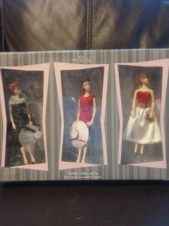 Vintage Reproduction 3 Barbie Xmas Ornaments Mint In Box