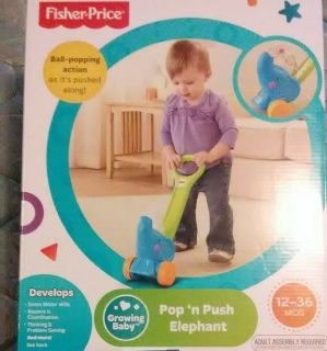 Toddler Fisher Price Toys (Pop 'N Push Elephant And Puppy's Remote) Never Opened