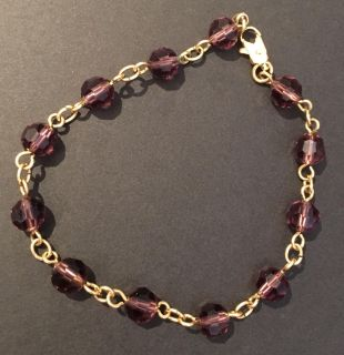 Gold Tone Metal Chain with Purple Beads Bracelet