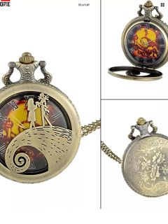 Nightmare before Christmas pocket watch on neck chain,New can be converted f to men s jacket Unisex
