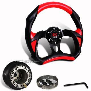Buy 320mm Black Red PVC Leather JDM Racing Steering Wheel + Hub For SUBARU IMPREZA motorcycle in Rowland Heights, California, United States