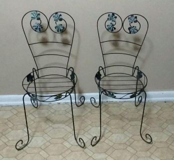 (2) WROUGHT IRON CHAIR PLANTERS....EXCELLENT CONDITION