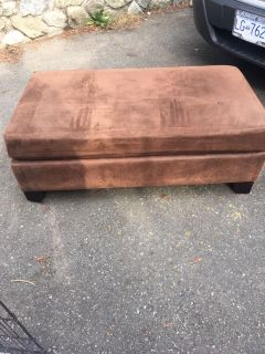 Large brown suede ottoman