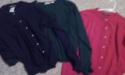 Large navy blue, green and red sweaters bundle deal
