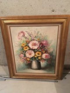 Floral oil painting in wood frame