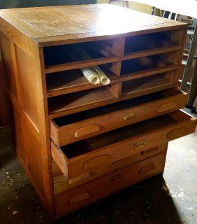 Vintage Oak flat file cabinet