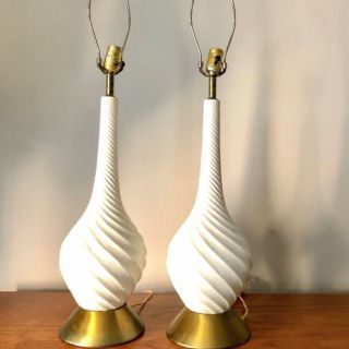 A Pair of Mid Century Quartite Table Lamps