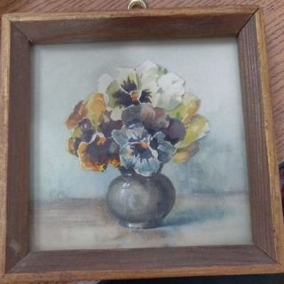 Antique framed picture of flowers in vase