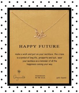 Happy Future Gold origami necklace on beautiful card stock, perfect gift! $3 each