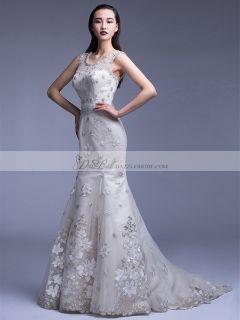 Mermaid Straps Bateau Neckline Sweep Train Embroidered Wedding Dress