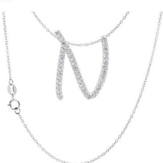 White gold silver N necklace
