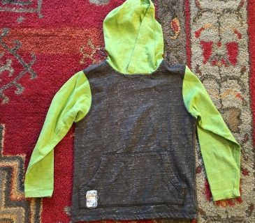 Hooded long sleeve. Fits size 6/7 best.