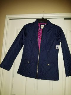 Nwt cat & jack blue quilted girls long jacket xl