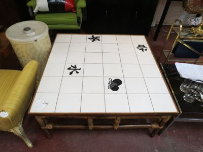 SALE! Vintage MCM Asian Tile Top Coffee Table