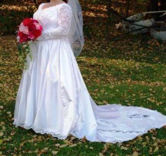 Wedding Dress, long sleeve, size 18