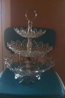 Three Tiered Crystal Serving Stand