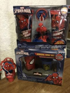 NEW IN BOXES Spider-Man Bathroom Collection