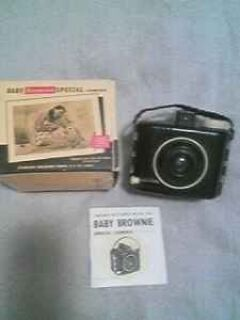 Kodak Baby Brownie Camera, instruction book and box