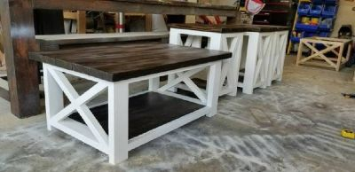 Farmhouse coffee and end tables.