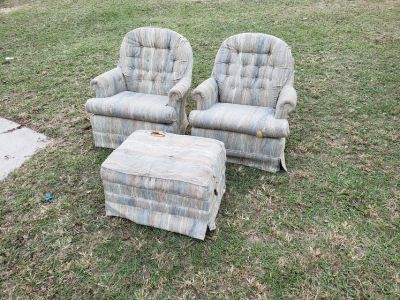 Two Swivel Chairs With Ottoman!