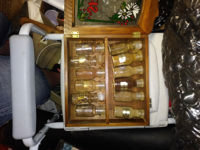 old painted glass spice cabinet
