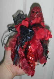 Victorian Black & Red Christmas Ball Ornament Bird