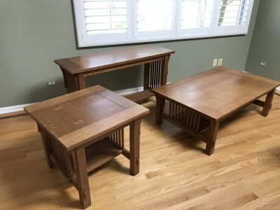 Oak Mission Style Coffee Table, End Table, and Sofa Table Set of 3