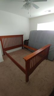 Queen Size Frame and Bedding