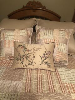 These 2 Queen comforter/quilt items were coordinated to be able to go together. The plaid quilt was used as a coverlet across the bottom of
