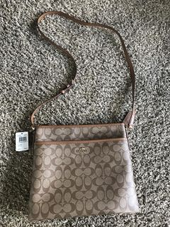 Authentic Coach signature file bag in brown