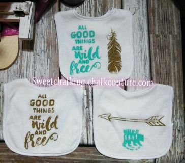 Teal and gold wild and free bibs