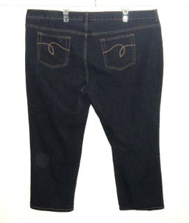 Avenue The Skinny Denim Jeans Womens Plus 24 x 26 Short 24w Dark Blue Stretch