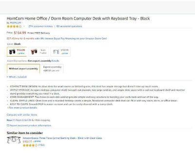 HomCom Home Office / Dorm Room Computer Desk with Keyboard Tray - Black