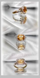14K White Gold Citrine and Diamond Ring Size 7