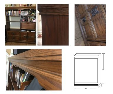 Wall Unit Solid Wood with drawers, swing door and Built-in Desk